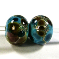 Handmade Lampwork Glass Frit Beads, Turquoise Blue Browns Pink Silver Leaf