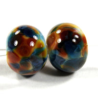 Handmade Lampwork Glass Frit Beads, White Blue Amber Brown Shiny