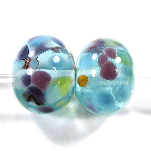 Handmade Lampwork Glass Frit Beads, Clear Blue Green Red Purple