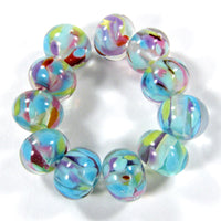 Handmade Lampwork Glass Frit Beads, Clear Blue Green Red Purple Encased