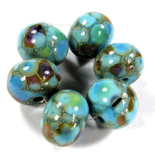Handmade Lampwork Glass Frit Beads, Lt Turquoise Blue Green Purple Silver Leaf