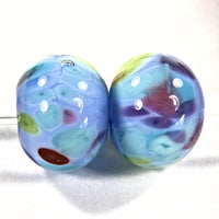 Handmade Lampwork Glass Frit Beads, Periwinkle Blue Green Purple Red Encased