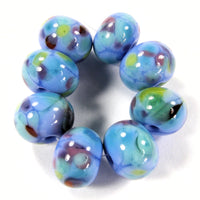 Handmade Lampwork Glass Frit Beads, Periwinkle Blue Green Purple Red