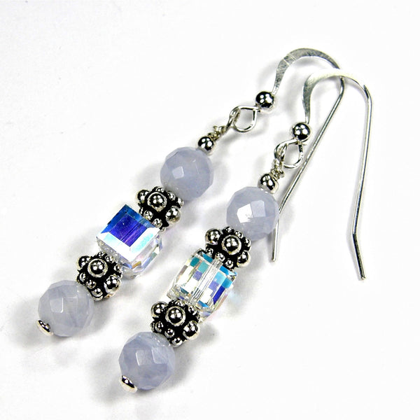 Elegant Blue Lace Agate Dangle Earrings, Swarovski Crystals, Sterling, Handmade