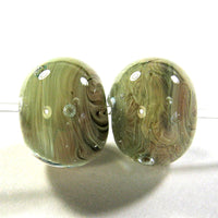 Handmade Lampwork Glass Bead Pairs, Aion Encased Shiny