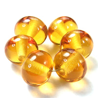 Handmade Lampwork Glass Beads, Light Amber Topaz Shiny 012g