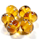 Handmade Lampwork Glass Beads, Light Amber Topaz Silver Shiny 012gfs