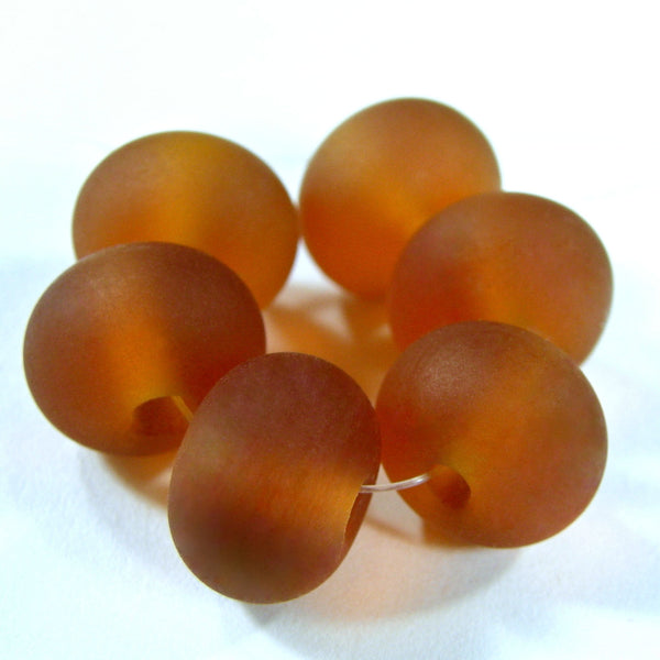 Handmade Lampwork Glass Beads, Medium Amber Topaz Etched 014e