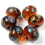 Handmade Lampwork Glass Frit Beads, Amber Brown Raku Transparent Shiny