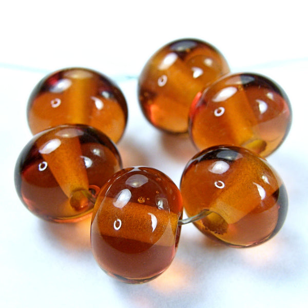 Handmade Lampwork Glass Beads, Medium Amber Topaz Shiny 014g