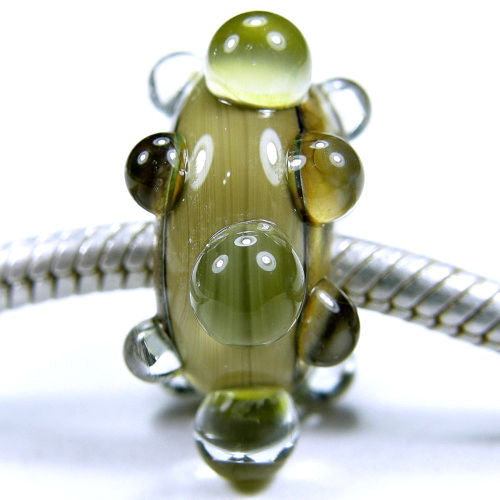 Handmade Large Hole Lampwork Beads, Glass Bracelet Charm, Taupe Sands Dots