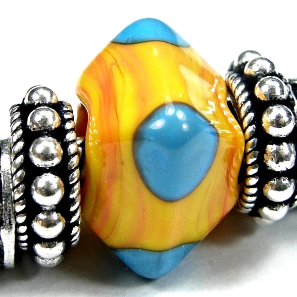 Handmade Large Hole Lampwork Beads, Handmade Glass Diamond Beads Apricot Sky Blue
