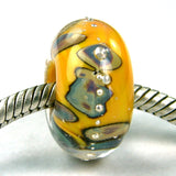 Handmade Large Hole Lampwork Beads, Glass Encased Apricot Orange Raku Silver