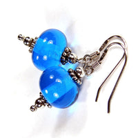 Aqua Blue Lampwork Dangle Earrings, Sterling Silver Artisan Handmade Jewelry