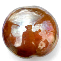Handmade Lampwork Glass Focal Bead, XL Lentil Aurae Metallic, Amber Honey Shiny
