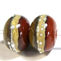 Handmade Lampwork Glass Band Beads, Avocado Tangerine Silvered Ivory Band Silver