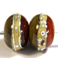 Handmade Lampwork Glass Band Beads, Avacado Tangerine Silvered Ivory Band Silver