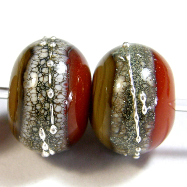 Handmade Lampwork Glass Band Beads, Avocado Tangerine Snakeskin Band Silver