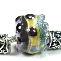 Handmade Large Hole Lampwork Beads, Glass Barrel Charm Dichroic Ivory Blue