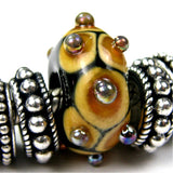 Handmade Large Hole Lampwork Beads, Euro Style Glass Bead, Black Brown Tan Aurae Dots