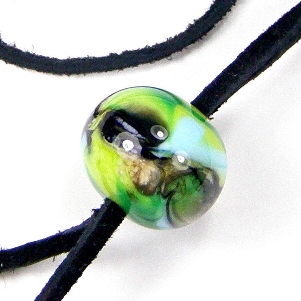 Wispy Swirls Lampwork Necklace, Adjustable Black Leather Cord