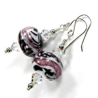 Abstract Black White Lattice Lampwork Dangle Earrings Swarovski Crystals Sterling Silver