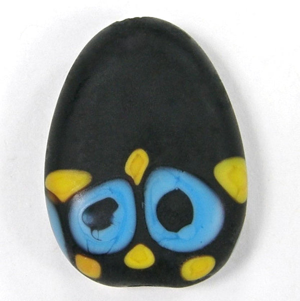 Handmade Lampwork Glass Focal Bead, Black Yellow Apricot Blue Etched