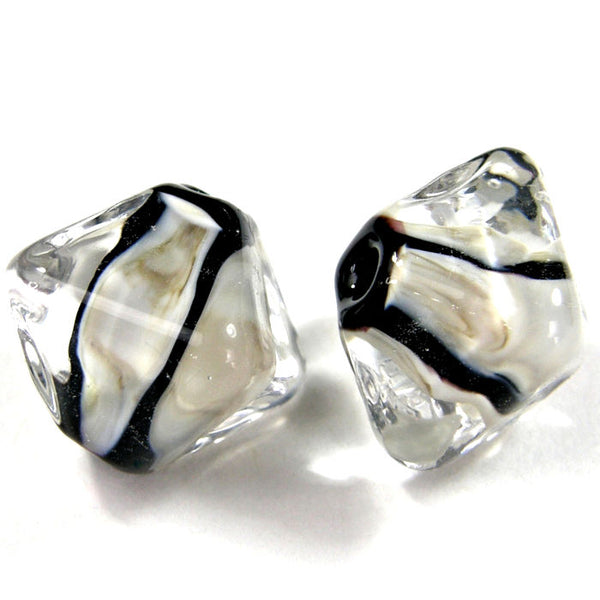 Handmade Lampwork Glass Diamond Beads, Black Clear Fossil Ivory Stripes Shiny