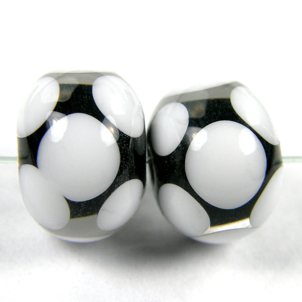 Handmade Lampwork Glass Dot Beads, Black White Clear Encased Shiny