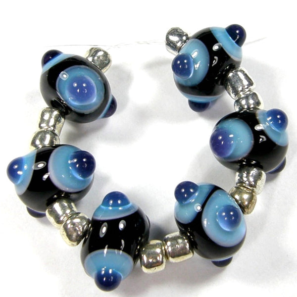 Handmade Lampwork Glass Bead Pairs, Black Blue Dots Shiny