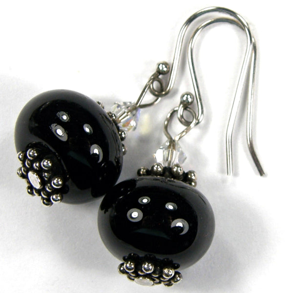 Dressy Classic Black Lampwork Dangle Earrings with Swarovski Crystals Sterling Silver