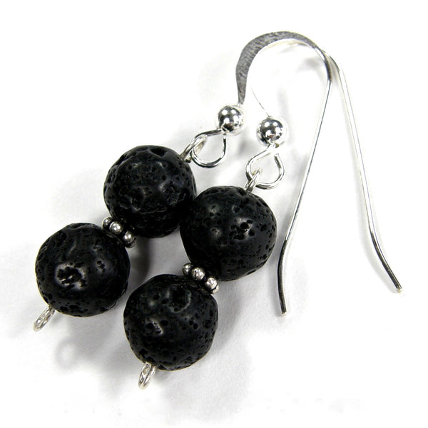 Double Black Lava Rock Gemstone Dangle Earrings, Sterling Silver Handmade Jewelry