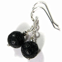 Simple Black Lava Rock Gemstone Dangle Earrings, Sterling Silver, Artisan Handmade Jewelry