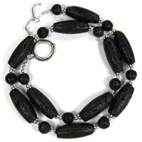 Classic Black Lava Gemstone Necklace, Sterling Silver, Handmade Jewelry