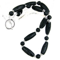 Classic Black Lava Rock Gemstone Necklace, Sterling Silver, Handmade Jewelry