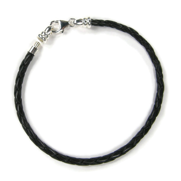 Black Braided Leather Charm Bracelet With Sterling Silver Threaded End Cap