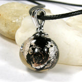 Black Night Silver Lampwork Galaxy Pendant Necklace Globe Sphere 20019