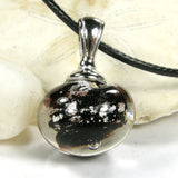Black Night Silver Lampwork Galaxy Pendant Necklace Globe Sphere 20018