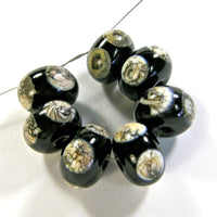 Handmade Lampwork Glass Dot Beads, Rustic Black Heavy Silvered Ivory Dots Shiny