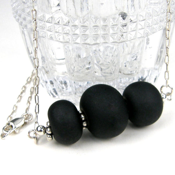 Silky Black Lampwork Necklace, Sterling Silver, Handmade Jewelry