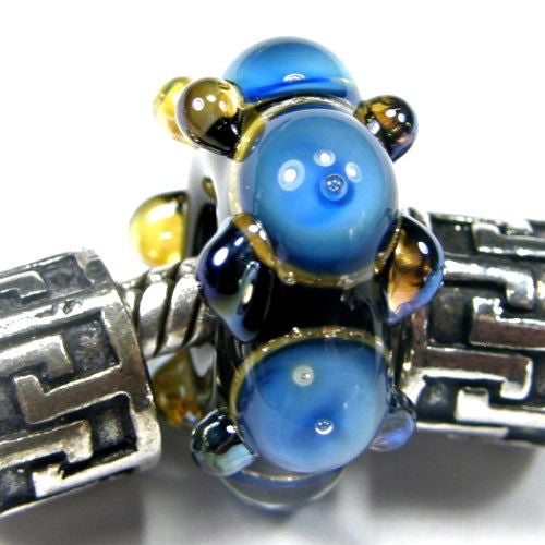 Handmade Large Hole Lampwork Beads, Artisan Glass Charm Blue Stripes Air Bubbles