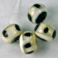 Handmade Lampwork Glass Bead Set, Ivory, Black, Dots, Shiny
