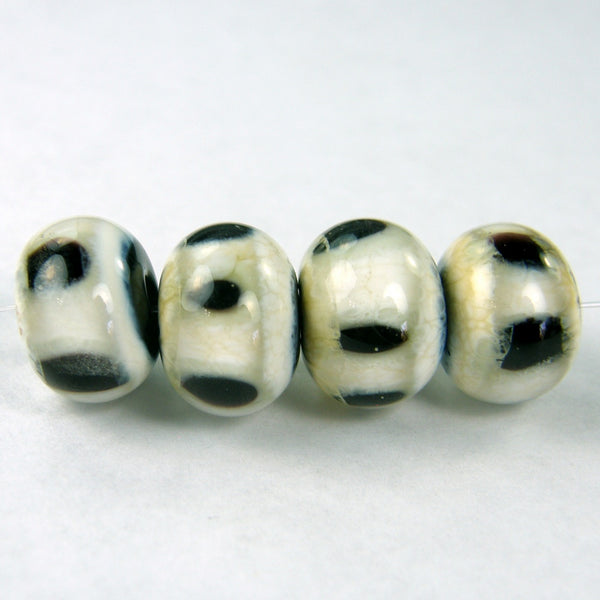 Handmade Lampwork Glass Lentil Bead Set, Ivory, Black, Dots, Shiny