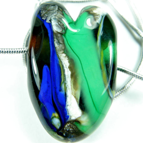 Necklaces, Blue Green Ivory Lampwork Heart Necklace, Sterling Silver, Handmade Jewelry