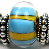 Handmade Large Hole Lampwork Beads, Artisan Glass Charm, Blue Yellow Stripes