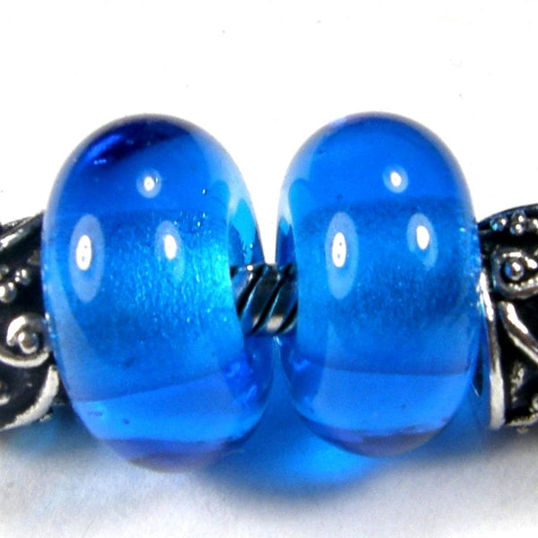 Handmade Large Hole Lampwork Beads, Slider Charm Bead, Dark Aqua Blue Shiny