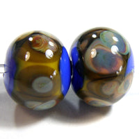 Handmade Lampwork Glass Frit Beads, Cobalt Blue Band Raku Yellow Shiny