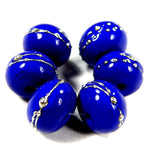 Handmade Lampwork Glass Beads, Medium Lapis Cobalt Blue Silver Shiny 242gfs
