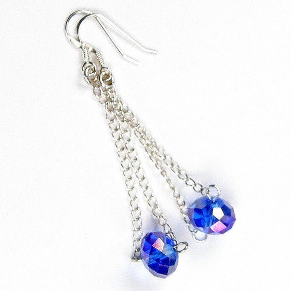 Sparkly Faceted Blue Swarovski Crystal Dangle Earrings, Sterling Silver, Artisan Handmade Jewelry