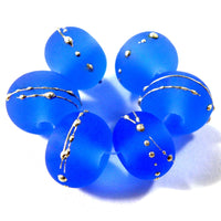 Handmade Lampwork Glass Beads, Dark Blue, Silver Etched Frosted 056efs